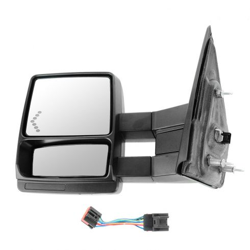 04 F150 New Body; 05-13 F150 Pwr Htd Puddle Lt Chevron TS Dual Arm Extending Black Txt Tow Mirror LH