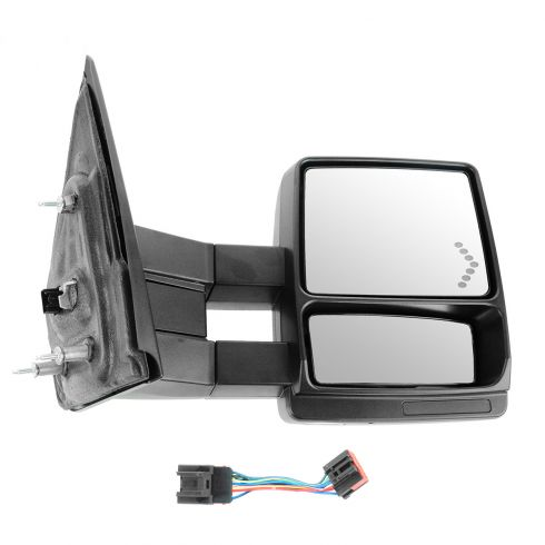 04 F150 New Body; 05-13 F150 Pwr Htd Puddle Lt Chevron TS Dual Arm Extending Black Txt Tow Mirror RH