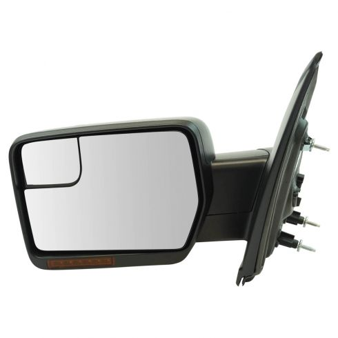 11-14 Ford F150 Power Folding, Heated, Turn Signal, Spotter Glass Txt Blk Non Tow Mirror LH (Ford)