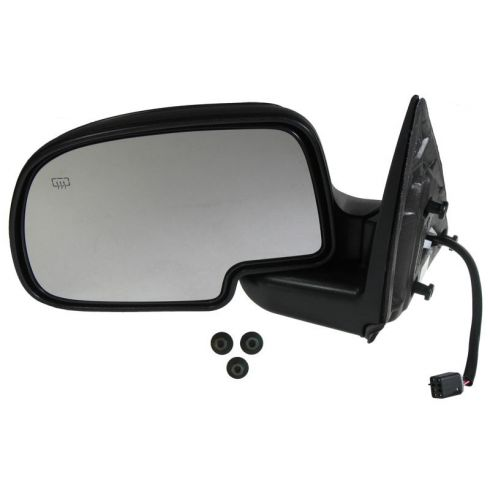 1999-03 Silverado Sierra Tahoe Yukon Black Power Heated Mirror with Black Cover & Mounting Hardware LH
