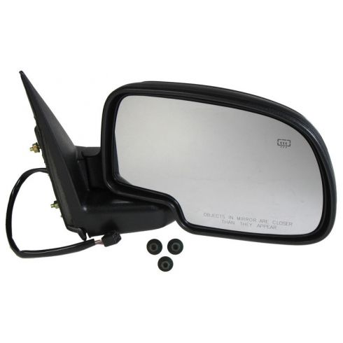 1999-03 Silverado Sierra Tahoe Yukon Black Power Heated Mirror with Black Cover & Mounting Hardware RH