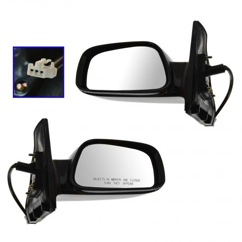 2003-08 Toyota Corolla Mirror Power Gloss Black Pair