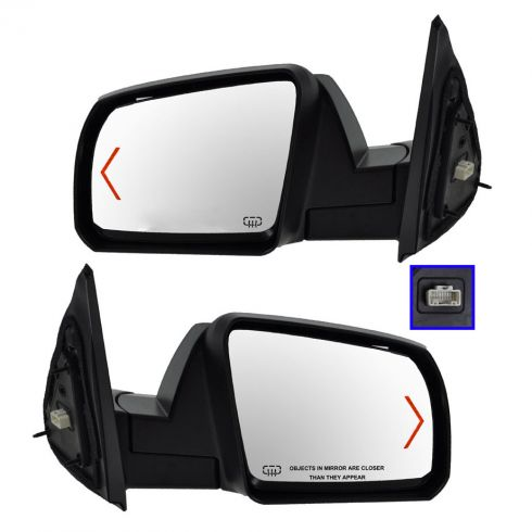 Mirror POWER HEATED with TURN SIGNAL and Smooth Black Cap PAIR