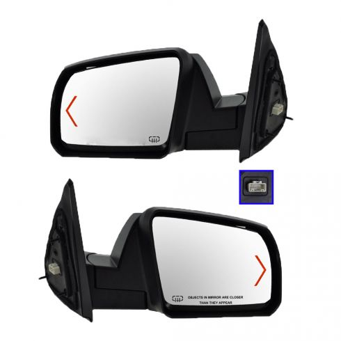 Mirror POWER HEATED with TURN SIGNAL and Black Textured Cap PAIR