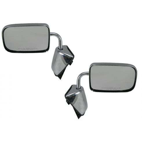 88-93 Dodge Ram Charger Pickup Mirror Chrome Folding Manual Pair