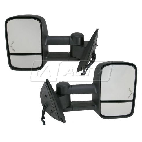 2007-09 Chevy Silverado, GMC Sierra Pwr Htd Dual Arm w/Chevron Signal Mirror PAIR
