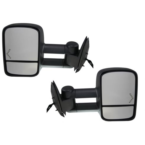 2003-07 GM Truck SUV Pwr Htd Turn Signal Dual Arm Xtendable Towing Mirror PAIR