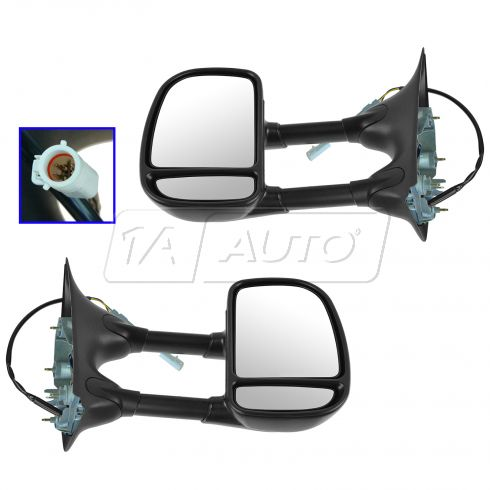 99-07 Ford Truck Pwr Dual Swing Arm Tow Mirror PAIR