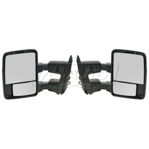 99-07 Ford SD PU Power Mirror w/Chrme & PTM Caps (08 Upgrade Style) PAIR