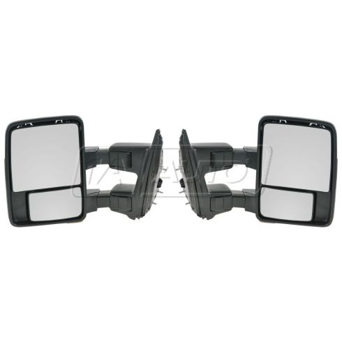 99-11 Ford SD PU Manual Mirror w/Chrme & PTM Caps (08 Upgrade Style) PAIR