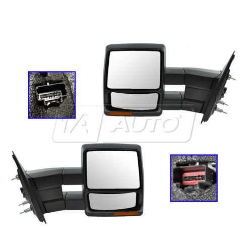 07-14 Ford F150 Power Heated Puddle Light Turn Signal Textured Tow Mirror LH (Upgrade) PAIR