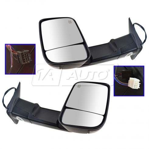09-11 Dodge Ram 1500 ; 10-11 Dodge 2500 3500 Pwr Htd PL TS Textured Mirror PAIR