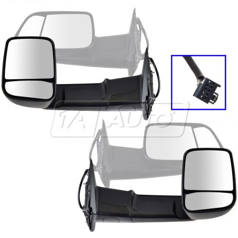 09-11 Dodge Ram 1500; 10-11 Dodge 2500 3500 Pwr Htd Flip Up Tow Textured Mirror Pair