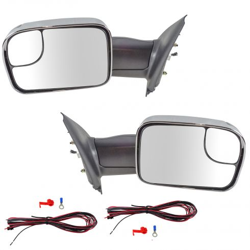 02-08 Dodge Ram 1500; 03-09 2500 3500 Pwr Htd TS Chrome Cap Tow (Perf Upgrade 2010 Look) Mirror PAIR