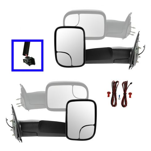 02-09 Dodge Ram 1500; 03-09 2500 3500 Manual TS Chrome Cap Tow (Perf Upgrade 2010 Look) Mirror PAIR