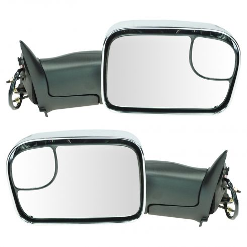 94-97 Dodge Ram 1500 2500 3500 Power TS Chrome Cap Tow (Perf Upgrade 2010 Look) Mirror PAIR