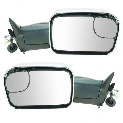 98-01 Dodge Ram 1500; 98-02 2500 3500 Pwr Htd TS Chrome Cap Tow (Perf Upgrade 2010 Look) Mirror PAIR