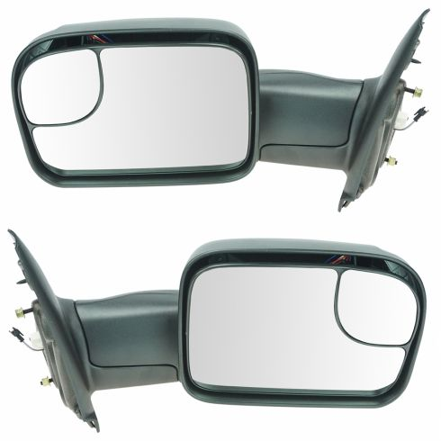02-08 Dodge Ram 1500; 03-09 2500 3500 Pwr Htd TS Textured Tow (Perf Upgrade 2010 Look) Mirror PAIR