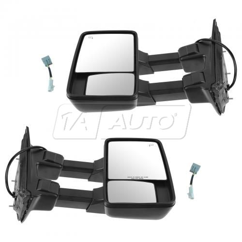 03-07 Ford SD PU Power Heated Turn Signal w/CL Textured Caps (08 Upgrade Style) Towing Mirror PAIR