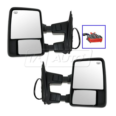08-10 Ford SD PU Power Heated Smoked Turn Sig & Clrnce Lite Textured (Upgrade Style) Tow Mirror PAIR