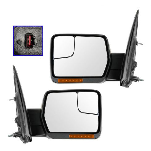 04-13 F150 Power, Memory, Dual Htd Glass, Dual LED Turn Signl, Chrm & PTM Caps Mirror PAIR (Upgrade)