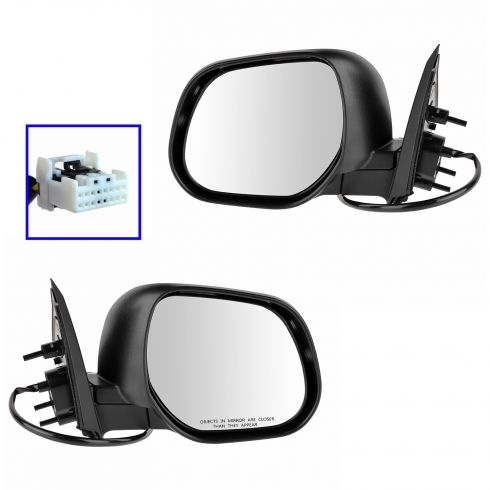 10-12 Mitsubishi Outlander Power Gloss Black Mirror PAIR
