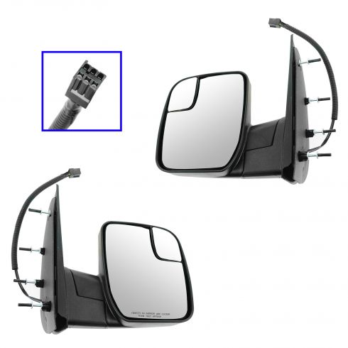 10-13 Ford Van (w/Integrated Spotter) Textured Black Power Mirror PAIR