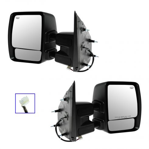 12-13 Nissan NV 1500, 2500, 3500 Power Heated w/Chrome Cap Tow Mirror PAIR
