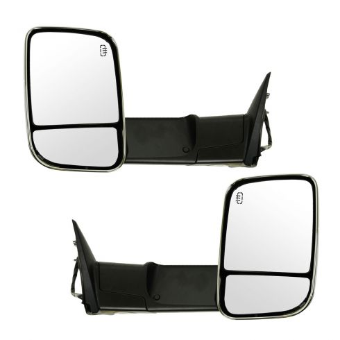 09-12 Dodge Ram 1500 (exc Mega Cab); 10-12 Dodge 2500 3500 Pwr Htd PL TS Mem Tow Chrome Mirror PAIR