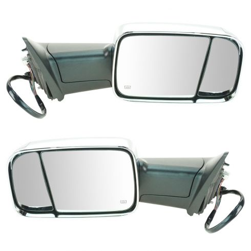 12 Ram 1500, 2500, 3500 Power Heated Puddle Light Turn Signal Mem Chrome Tow (Flip Up) Mirror PAIR