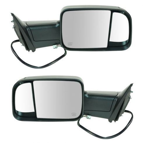 12 Ram 1500, 2500, 3500 Pwr Heated Puddle Light Turn Signal Texured Black Tow (Flip Up) Mirror PAIR