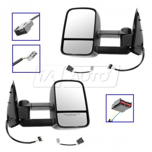97-03 F150 (exc Crew Cab); 04 F150 Hert; 97-99 F250LD Dual Arm Text Tow Power Mirror PAIR (UPGRADE)