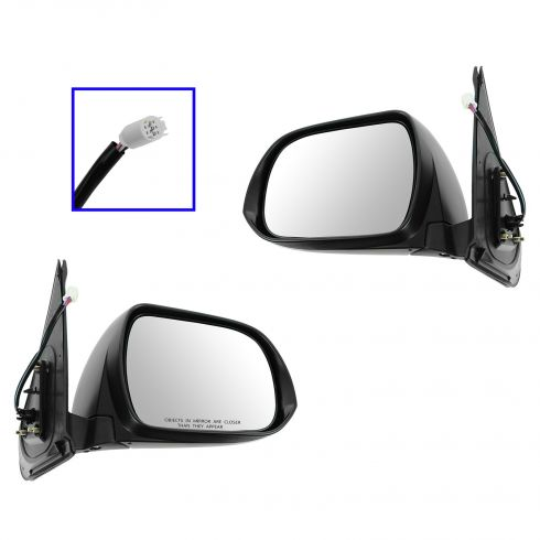12-13 Toyota Tacoma Power w/Turn Signal Black w/Chrome Cap Mirror PAIR