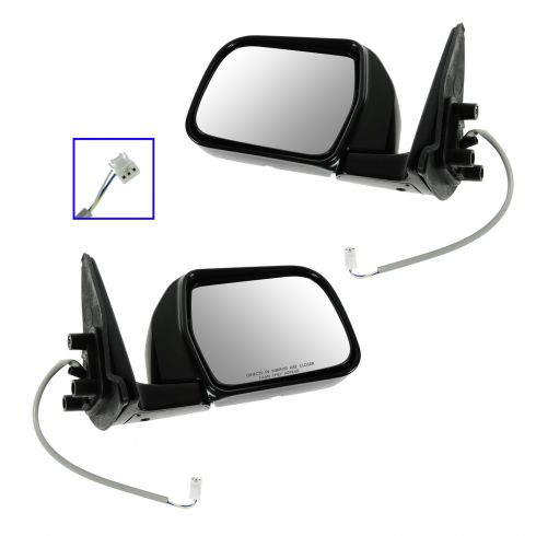 93-98 Toyota T100 Power Black w/Chrome Cap Mirror PAIR