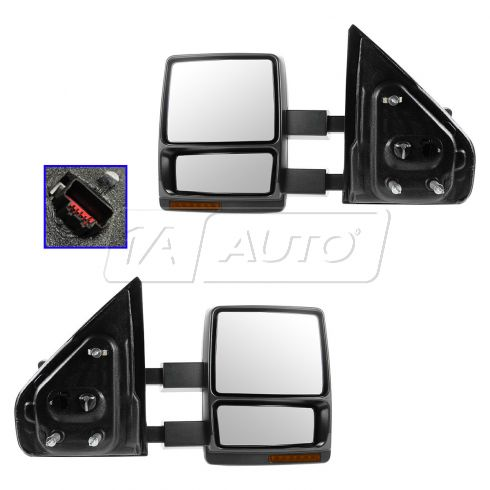 04 Ford F150 NB; 05-06 F150; 06 LT Htd Pwr w/TS (PTM & Chrme Caps) Dual Arm Tow Mirror PR (09 Style)