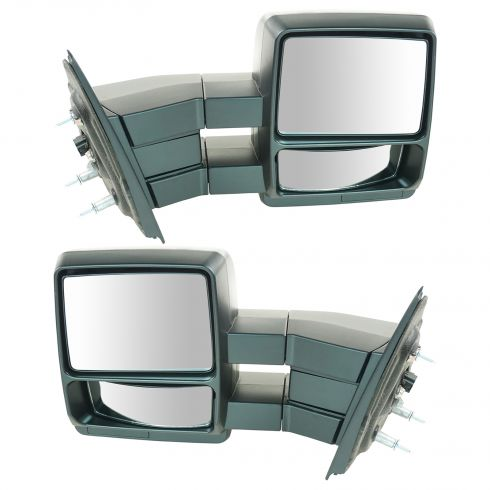 04 Ford F150 New Body; 05-12 F150 Power (w/Black Textured Cap) Dual Arm Tow Mirror PR (09 Style)