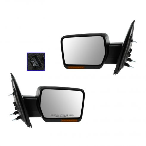 09-10 Ford F150 Power, Heated, w/Turn Signal Black Textured Mirror PAIR