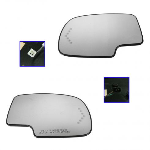 03-07 GM Full Size PU & SUV Heated Turn Signal w/ Back Plate Mirror Glass PAIR