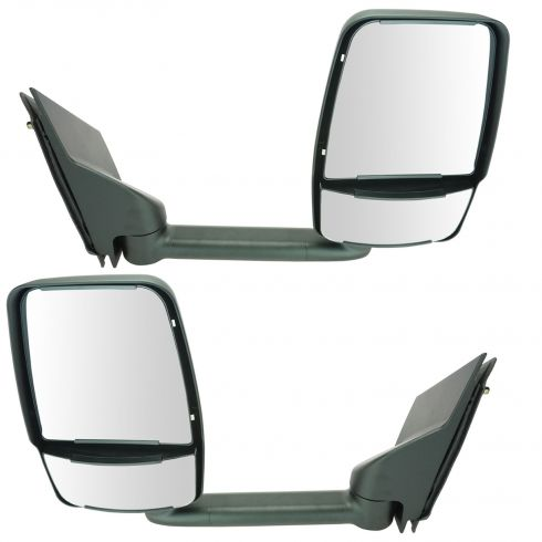 03-11 Chevy Express, GMC Savana Van Single Arm, Dual Glass Textured Black Manual Tow Mirror PAIR