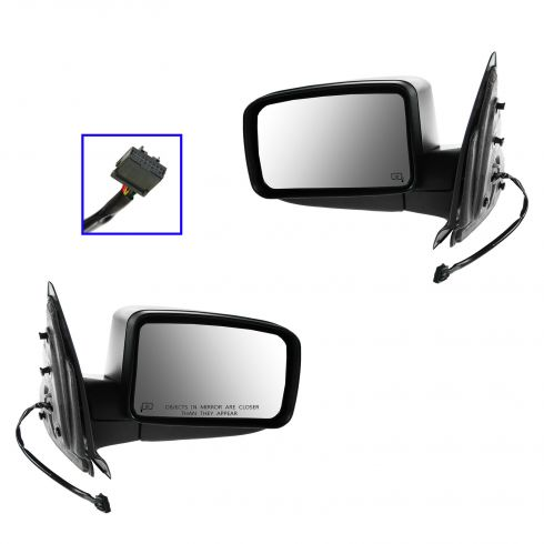 03-04 Ford Expedition Power Heated w/Puddle Light Textured Black Mirror PAIR