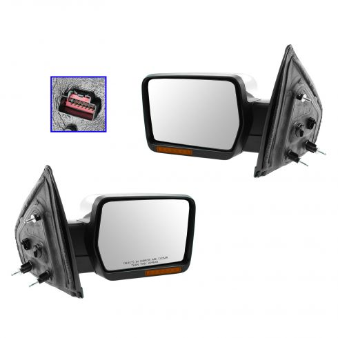 09-10 Ford F150 Power, Heated, Power Folding, w/Turn Sig, Memory, Puddle Light Chrome Mirror PAIR