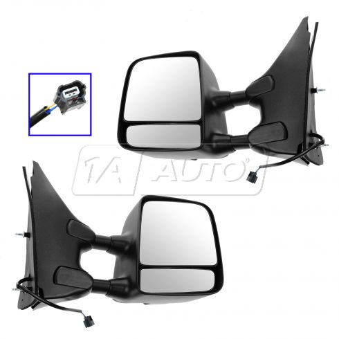 05-13 Nissan, Suzuki PU, SUV Power (w/Txt & Chm Cvrs) Dual Swing Telescoping Tow Mirror Upgrade PAIR