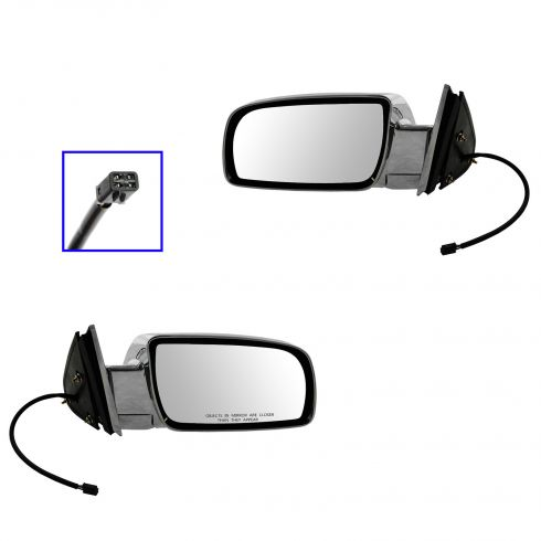 92-00 GM Full Size PU; 92-99 FS SUV, Suburban ALL CHROME Power Mirror PAIR