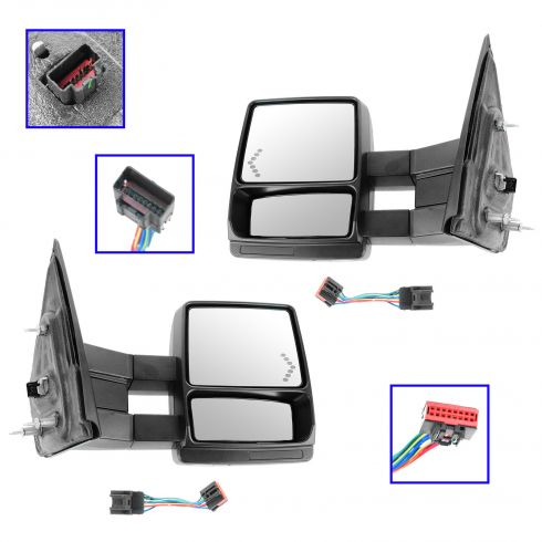 04 F150 New Body; 05-13 F150 Pwr Htd Puddle Lt Chevron TS Dual Arm Extending Black Txt Tow Mirror PR