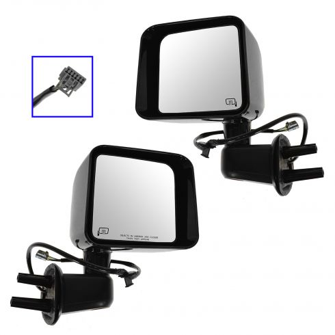 11-13 Jeep Wrangler Power, Heated, w/Gloss Black Cap Mirror PAIR