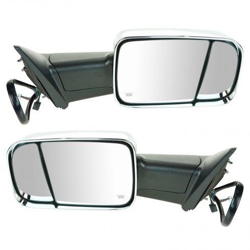13 Ram 1500, 2500 Pwr, Htd, Turn Signal, Memory, Puddle Light, w/LH Temp Sen, Chrome Tow Mirror PAIR