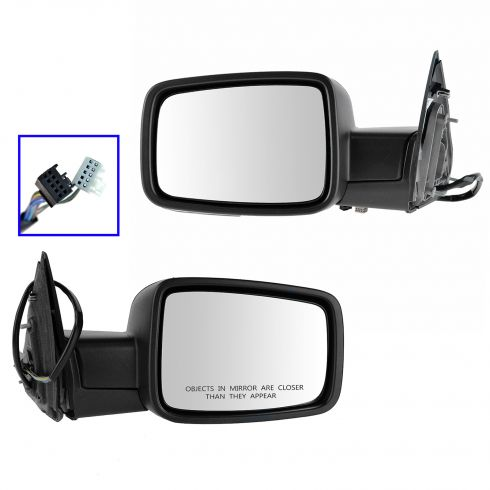13 Ram 1500, 2500 Power Folding, Htd, Turn Signal, Puddle Light w/Textured Black Cover Mirror PAIR