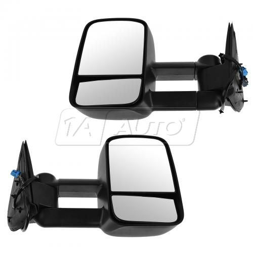 03-07 GM Silverado Sierra Telescopic Power Heated Towing Textured Black Mirror PAIR
