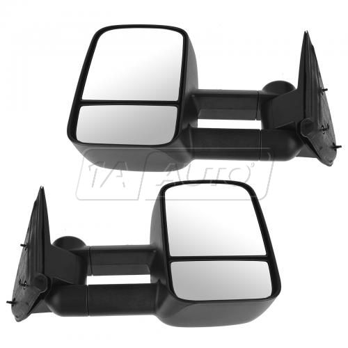 99-07 GM Silverado Sierra Telescopic Towing Manual Textured Black Mirror PAIR