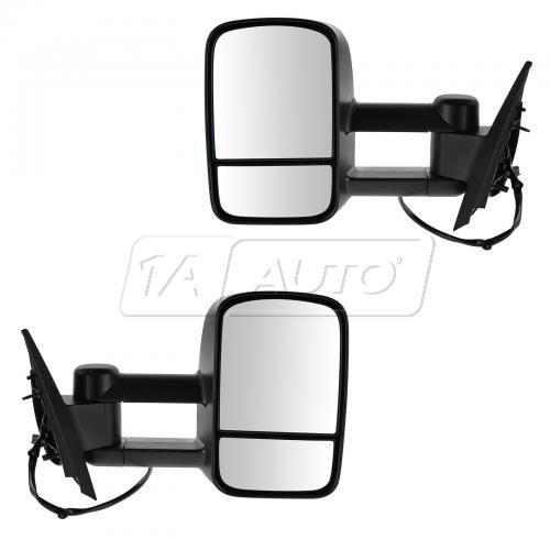07-13 GM Silverado Sierra Power, Heated, Dual Glass Telescopic Towing Textured Black Mirror PAIR